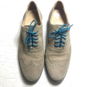 Cole Haan alisa wing tip oxford tan suede blue 7